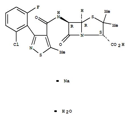 23319-49-5,4-Thia-1-azabicyclo[3.2.0]heptane-2-carboxylicacid,6-[[[3-(2-chloro-6-fluorophenyl)-5-methyl-4-isothiazolyl]carbonyl]amino]-3,3-dimethyl-7-oxo-,monosodium salt, monohydrate, [2S-(2a,5a,6b)]- (9CI),4-Thia-1-azabicyclo[3.2.0]heptane-2-carboxylicacid,6-[3-(2-chloro-6-fluorophenyl)-5-methyl-4-isothiazolecarboxamido]-3,3-dimethyl-7-oxo-,monosodium salt, monohydrate (8CI); Sodium 6-[3-(2-chloro-6-fluorophenyl)-5-methyl-4-isothiazolecarboxamido]penicilliatemonohydrate