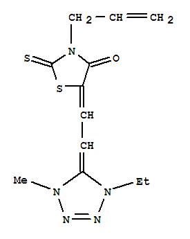 24738-19-0,4-Thiazolidinone,5-[2-(1-ethyl-1,4-dihydro-4-methyl-5H-tetrazol-5-ylidene)ethylidene]-3-(2-propen-1-yl)-2-thioxo-,2,4-Thiazolidinedione,3-allyl-5-[(1-ethyl-4-methyl-2-tetrazolin-5-ylidene)ethylidene]-2-thio- (8CI);4-Thiazolidinone,5-[(1-ethyl-1,4-dihydro-4-methyl-5H-tetrazol-5-ylidene)ethylidene]-3-(2-propenyl)-2-thioxo-(9CI); Rhodanine,3-allyl-5-[2-(1-ethyl-4-methyl-2-tetrazolin-5-ylidene)ethylidene]- (6CI);3-Propenyl-5-[(1,4-dimethyldihydrotetrazolyl)ethylidene]rhodanine