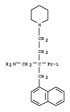 27566-61-6,1-Piperidinebutanamine,b-(1-methylethyl)-b-(1-naphthalenylmethyl)-,Piperidine,1-[3-(aminomethyl)-4-methyl-3-(1-naphthylmethyl)pentyl]- (8CI); NSC 171384