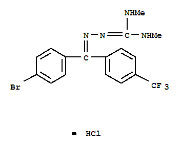 34328-11-5,Hydrazinecarboximidamide,2-[(4-bromophenyl)[4-(trifluoromethyl)phenyl]methylene]-N,N-dimethyl-,hydrochloride (1:1),Guanidine,1-[[p-bromo-a-(a,a,a-trifluoro-p-tolyl)benzylidene]amino]-2,3-dimethyl-, monohydrochloride(8CI); NSC 157527