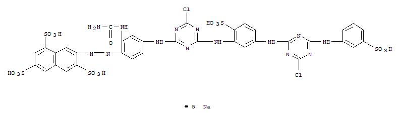 Molecular Structure of 34759-29-0 (1,3,6-Naphthalenetrisulfonic acid, 7-[2-[2-[(aminocarbonyl)amino]-4-[[4-chloro-6-[[5-[[4-chloro-6-[(3-sulfophenyl)amino]-1,3,5-triazin-2-yl]amino]-2-sulfophenyl]amino]-1,3,5-triazin-2-yl]amino]phenyl]diazenyl]-,sodium salt (1:5))