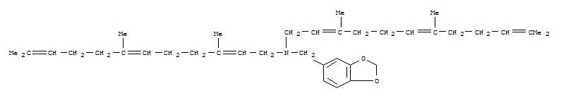 55436-80-1,1,3-Benzodioxole-5-methanamine,N,N-bis(3,7,11-trimethyl-2,6,10-dodecatrien-1-yl)-,1,3-Benzodioxole-5-methanamine,N,N-bis(3,7,11-trimethyl-2,6,10-dodecatrienyl)- (9CI)