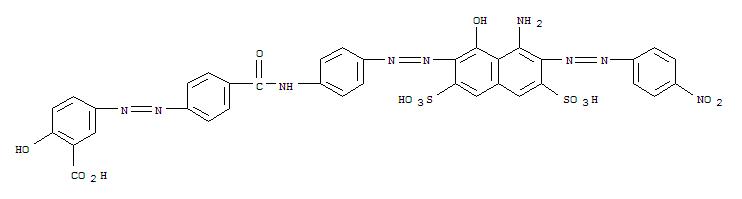 56918-93-5,Benzoic acid,5-[2-[4-[[[4-[2-[8-amino-1-hydroxy-7-[2-(4-nitrophenyl)diazenyl]-3,6-disulfo-2-naphthalenyl]diazenyl]phenyl]amino]carbonyl]phenyl]diazenyl]-2-hydroxy-,Benzoicacid,5-[[4-[[[4-[[8-amino-1-hydroxy-7-[(4-nitrophenyl)azo]-3,6-disulfo-2-naphthalenyl]azo]phenyl]amino]carbonyl]phenyl]azo]-2-hydroxy-(9CI)