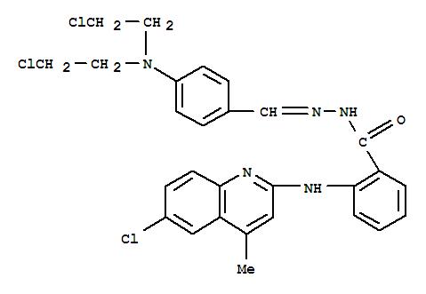 74459-56-6,Benzoic acid,2-[(6-chloro-4-methyl-2-quinolinyl)amino]-,2-[[4-[bis(2-chloroethyl)amino]phenyl]methylene]hydrazide,Benzoicacid, 2-[(6-chloro-4-methyl-2-quinolinyl)amino]-,[[4-[bis(2-chloroethyl)amino]phenyl]methylene]hydrazide (9CI); NSC 311129