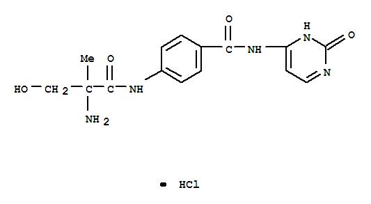 7494-98-6,Benzamide,4-[(2-amino-3-hydroxy-2-methyl-1-oxopropyl)amino]-N-(2,3-dihydro-2-oxo-4-pyrimidinyl)-,hydrochloride (1:1),Hydracrylanilide,2-amino-4'-[(2-hydroxy-4-pyrimidinyl)carbamoyl]-2-methyl-, monohydrochloride(8CI)
