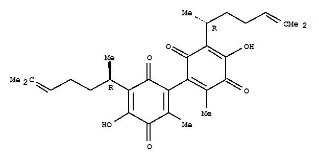 77416-47-8,[Bi-1,4-cyclohexadien-1-yl]-3,3',6,6'-tetrone,5,5'-bis[(1R)-1,5-dimethyl-4-hexenyl]-4,4'-dihydroxy-2,2'-dimethyl- (9CI),[Bi-1,4-cyclohexadien-1-yl]-3,3',6,6'-tetrone,5,5'-bis(1,5-dimethyl-4-hexenyl)-4,4'-dihydroxy-2,2'-dimethyl-, [R-(R*,R*)]-;Diperezone