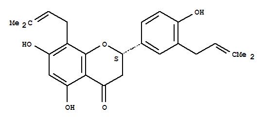 80510-05-0,4H-1-Benzopyran-4-one,2,3-dihydro-5,7-dihydroxy-2-[4-hydroxy-3-(3-methyl-2-buten-1-yl)phenyl]-8-(3-methyl-2-buten-1-yl)-,(2S)-,4H-1-Benzopyran-4-one,2,3-dihydro-5,7-dihydroxy-2-[4-hydroxy-3-(3-methyl-2-butenyl)phenyl]-8-(3-methyl-2-butenyl)-,(2S)- (9CI); 4H-1-Benzopyran-4-one,2,3-dihydro-5,7-dihydroxy-2-[4-hydroxy-3-(3-methyl-2-butenyl)phenyl]-8-(3-methyl-2-butenyl)-,(S)-; Euchrestaflavanone A; Lespedezaflavanone B