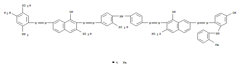 93777-10-7,2-Naphthalenesulfonicacid,6-[(2,4-diamino-5-sulfophenyl)azo]-4-hydroxy-3-[[4-[[4-[[1-hydroxy-7-[[4-hydroxy-2-[(2-methylphenyl)amino]phenyl]azo]-3-sulfo-2-naphthalenyl]azo]phenyl]amino]-3-sulfophenyl]azo]-,tetrasodium salt (9CI),2-Naphthalenesulfonic acid, 6-[(2,4-diamino-5-sulfophenyl)azo]-4-hydroxy-3-[[4-[[4-[[1-hydroxy-7-[[4-hydroxy-2-[(2-methylphenyl)amino]phenyl]azo]-3-sulfo-2-naphthalenyl]azo]phenyl]amino]-3-sulfophenyl]azo]-, tetrasodium salt