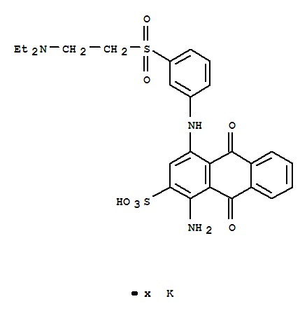 97259-67-1,2-Anthracenesulfonicacid,1-amino-4-[[3-[[2-(diethylamino)ethyl]sulfonyl]phenyl]amino]-9,10-dihydro-9,10-dioxo-,potassium salt (1:?),2-Anthracenesulfonicacid,1-amino-4-[[3-[[2-(diethylamino)ethyl]sulfonyl]phenyl]amino]-9,10-dihydro-9,10-dioxo-,potassium salt (9CI)