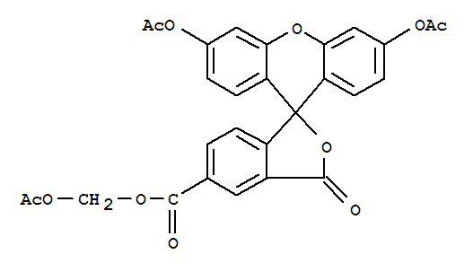 Molecular Structure of 124412-00-6 (Spiro[isobenzofuran-1(3H),9'-[9H]xanthene]-5-carboxylicacid, 3',6'-bis(acetyloxy)-3-oxo-, (acetyloxy)methyl ester)