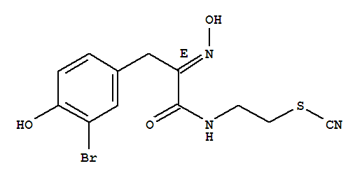Molecular Structure of 133991-67-0 (Thiocyanic acid,2-[[(2E)-3-(3-bromo-4-hydroxyphenyl)-2-(hydroxyimino)-1-oxopropyl]amino]ethylester)