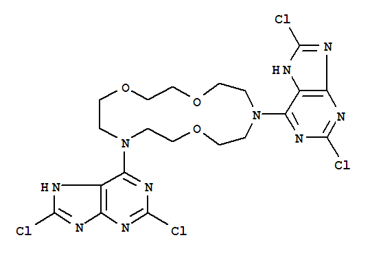 Molecular Structure of 149246-39-9 (1H-Purine,6,6'-(1,4,10-trioxa-7,13-diazacyclopentadecane-7,13-diyl)bis[2,8-dichloro-(9CI))