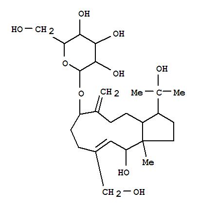 159397-74-7,b-D-Glucopyranoside,(3R,3aS,7S,10E,12S,12aS)-1,2,3,3a,4,5,6,7,8,9,12,12a-dodecahydro-12-hydroxy-10-(hydroxymethyl)-3-(1-hydroxy-1-methylethyl)-12a-methyl-6-methylene-7-cyclopentacycloundecenyl,rel-(+)- (9CI),b-D-Glucopyranoside,1,2,3,3a,4,5,6,7,8,9,12,12a-dodecahydro-12-hydroxy-10-(hydroxymethyl)-3-(1-hydroxy-1-methylethyl)-12a-methyl-6-methylene-7-cyclopentacycloundecenyl,(3R*,3aS*,7S*,10E,12S*,12aS*)-(+)-; (+)-Chrozophoroside A1; Chrozophoroside A1