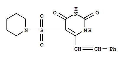 16290-67-8,2,4(1H,3H)-Pyrimidinedione,6-(2-phenylethenyl)-5-(1-piperidinylsulfonyl)-,Piperidine,1-[(1,2,3,4-tetrahydro-2,4-dioxo-6-styryl-5-pyrimidinyl)sulfonyl]- (8CI);Piperidine,1-[[1,2,3,4-tetrahydro-2,4-dioxo-6-(2-phenylethenyl)-5-pyrimidinyl]sulfonyl]-(9CI); NSC 210415