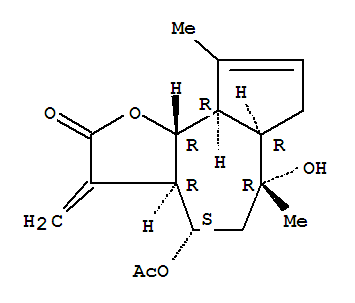20482-33-1,Azuleno[4,5-b]furan-2(3H)-one,4-(acetyloxy)-3a,4,5,6,6a,7,9a,9b-octahydro-6-hydroxy-6,9-dimethyl-3-methylene-,(3aR,4S,6R,6aR,9aR,9bR)-,Azuleno[4,5-b]furan-2(3H)-one,4-(acetyloxy)-3a,4,5,6,6a,7,9a,9b-octahydro-6-hydroxy-6,9-dimethyl-3-methylene-,[3aR-(3aa,4a,6a,6aa,9aa,9bb)]-; Guaia-3,11(13)-dien-12-oic acid, 6a,8,10-trihydroxy-, 12,6-lactone, 8-acetate (8CI);Cumambrin A; Cumambrin B acetate