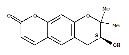 Molecular Structure of 23458-02-8 (2H,6H-Benzo[1,2-b:5,4-b']dipyran-2-one,7,8-dihydro-7-hydroxy-8,8-dimethyl-, (7S)-)