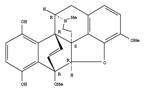 Molecular Structure of 2725-91-9 (5,9b-Etheno-10,11c-(iminoethano)chryseno[4,5-bcd]furan-6,9-diol,4a,5,10,11-tetrahydro-3,5-dimethoxy-14-methyl-, (4aR,5R,9bR,10R,11cS)-)