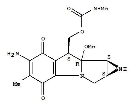 Molecular Structure of 41515-32-6 (Azirino[2',3':3,4]pyrrolo[1,2-a]indole-4,7-dione,6-amino-1,1a,2,8,8a,8b-hexahydro-8a-methoxy-5-methyl-8-[[[(methylamino)carbonyl]oxy]methyl]-,[1aS-(1aa,8b,8aa,8ba)]- (9CI))