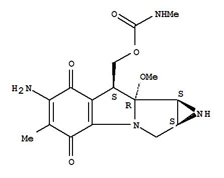 Molecular Structure of 41515-32-6 (Azirino[2',3':3,4]pyrrolo[1,2-a]indole-4,7-dione,6-amino-1,1a,2,8,8a,8b-hexahydro-8a-methoxy-5-methyl-8-[[[(methylamino)carbonyl]oxy]methyl]-,[1aS-(1aa,8b,8aa,8ba)]- (9CI))