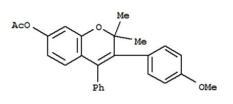 5218-96-2,2H-1-Benzopyran-7-ol,3-(4-methoxyphenyl)-2,2-dimethyl-4-phenyl-, 7-acetate,2H-1-Benzopyran-7-ol,3-(p-methoxyphenyl)-2,2-dimethyl-4-phenyl-, acetate (7CI,8CI); NSC 77797