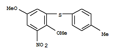 55034-13-4,Benzene,2,5-dimethoxy-1-[(4-methylphenyl)thio]-3-nitro-,2,5-Dimethoxy-3-(4-methylphenylthio)nitrobenzene;1,4-Dimethoxy-6-nitro-2-(p-tolylthio)benzene;