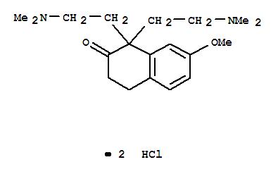 6301-42-4,2(1H)-Naphthalenone,1,1-bis[2-(dimethylamino)ethyl]-3,4-dihydro-7-methoxy-, hydrochloride (1:2),2(1H)-Naphthalenone,1,1-bis[2-(dimethylamino)ethyl]-3,4-dihydro-7-methoxy-, dihydrochloride (8CI);NSC 43878