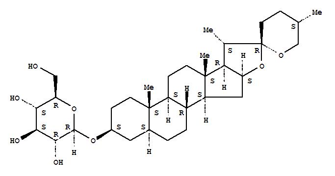 70954-49-3,b-D-Glucopyranoside, (3b,5a,25S)-spirostan-3-yl (9CI),Spiro[8H-naphth[2',1':4,5]indeno[2,1-b]furan-8,2'-[2H]pyran],b-D-glucopyranoside deriv.;Spirostan, b-D-glucopyranoside deriv.;Nicotianoside A