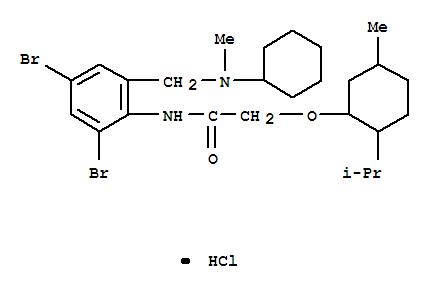 71420-36-5,Acetamide,N-[2,4-dibromo-6-[(cyclohexylmethylamino)methyl]phenyl]-2-[[5-methyl-2-(1-methylethyl)cyclohexyl]oxy]-,hydrochloride (1:1),Acetamide,N-[2,4-dibromo-6-[(cyclohexylmethylamino)methyl]phenyl]-2-[[5-methyl-2-(1-methylethyl)cyclohexyl]oxy]-,monohydrochloride (9CI)