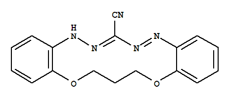 Molecular Structure of 71997-58-5 (5H,15H-Dibenzo[b,i][1,11,4,5,7,8]dioxatetraazacyclotetradecine-7-carbonitrile,16,17-dihydro-)