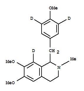 7240-67-7,Isoquinoline-8-d,1,2,3,4-tetrahydro-6,7-dimethoxy-1-[(4-methoxyphenyl-3,5-d2)methyl]-2-methyl-(9CI),Isoquinoline-8-d,1,2,3,4-tetrahydro-6,7-dimethoxy-1-(4-methoxybenzyl-3,5-d2)-2-methyl- (7CI);Isoquinoline-8-d,1,2,3,4-tetrahydro-6,7-dimethoxy-1-(p-methoxybenzyl-3,5-d2)-2-methyl- (8CI)