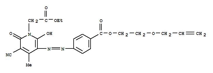 Molecular Structure of 80440-11-5 (1(2H)-Pyridineaceticacid,3-cyano-6-hydroxy-4-methyl-2-oxo-5-[2-[4-[[2-(2-propen-1-yloxy)ethoxy]carbonyl]phenyl]diazenyl]-,ethyl ester)
