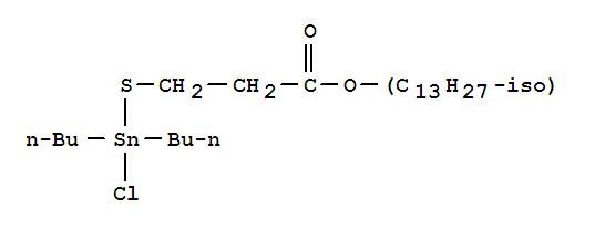 84788-16-9,Propanoic acid,3-[(dibutylchlorostannyl)thio]-, isotridecyl ester,Isotridecyl 3-((dibutylchlorostannyl)thio)propionate;11-Methyldodecyl 3-[dibutyl(chloro)stannyl]sulfanylpropanoate;Propanoic acid,3-[(dibutylchlorostannyl)thio]-, isotridecyl ester (9CI);