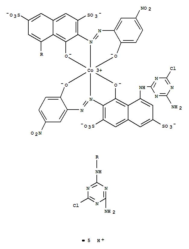 88330-21-6,Cobaltate(5-),bis[5-[(4-amino-6-chloro-1,3,5-triazin-2-yl)amino]-4-(hydroxy-kO)-3-[[2-(hydroxy-kO)-5-nitrophenyl]azo-kN1]-2,7-naphthalenedisulfonato(4-)]-,pentahydrogen (9CI),Cobaltate(5-),bis[5-[(4-amino-6-chloro-1,3,5-triazin-2-yl)amino]-4-hydroxy-3-[(2-hydroxy-5-nitrophenyl)azo]-2,7-naphthalenedisulfonato(4-)]-,pentahydrogen; 2,7-Naphthalenedisulfonic acid, 5-[(4-amino-6-chloro-1,3,5-triazin-2-yl)amino]-4-hydroxy-3-[(2-hydroxy-5-nitrophenyl)azo]-,cobalt complex