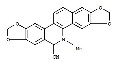 94656-26-5,[1,3]Dioxolo[4,5-j]-1,3-dioxolo[4,5]benzo[1,2-c]phenanthridine-6-carbonitrile,5,6-dihydro-5-methyl-,1,3-Benzodioxolo[5,6-c][1,3]dioxolo[4,5-j]phenanthridine-6-carbonitrile,5,6-dihydro-5-methyl- (9CI); Avicine pseudocyanide (6CI)