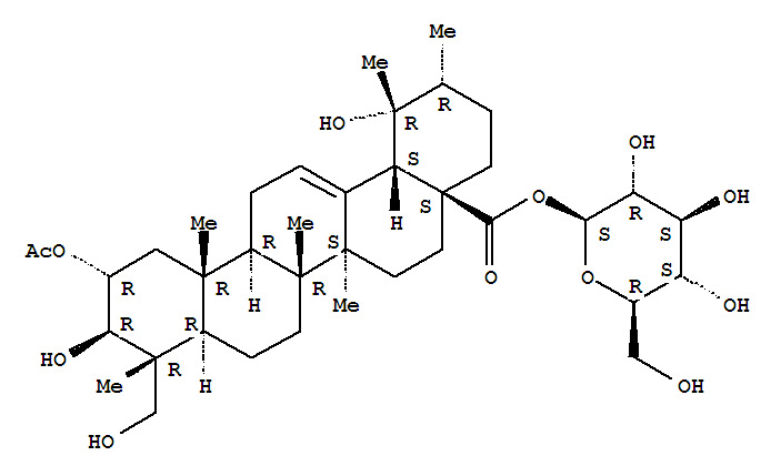 95262-50-3,Urs-12-en-28-oic acid,2-(acetyloxy)-3,19,23-trihydroxy-, b-D-glucopyranosyl ester, (2a,3b,4a)- (9CI),Niga-ichigosideF 3