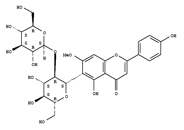 Molecular Structure of 72063-39-9 (4H-1-Benzopyran-4-one,6-(2-O-b-D-glucopyranosyl-b-D-glucopyranosyl)-5-hydroxy-2-(4-hydroxyphenyl)-7-methoxy-)