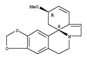 466-77-3,Erythrinan,1,2,6,7-tetradehydro-3-methoxy-15,16-[methylenebis(oxy)]-, (3b)-,Erythraline(6CI,7CI,8CI); 1H-[1,3]Dioxolo[4,5-g]indolo[7a,1-a]isoquinoline, erythrinanderiv.; (+)-Erythraline; Erythralin