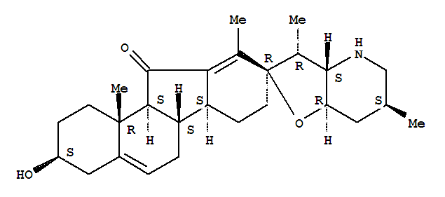 Molecular Structure of 469-59-0 (Spiro[9H-benzo[a]fluorene-9,2'(3'H)-furo[3,2-b]pyridin]-11(1H)-one,2,3,3'a,4,4',5',6,6',6a,6b,7,7',7'a,8,11a,11b-hexadecahydro-3-hydroxy-3',6',10,11b-tetramethyl-,(2'R,3S,3'R,3'aS,6'S,6aS,6bS,7'aR,11aS,11bR)-)
