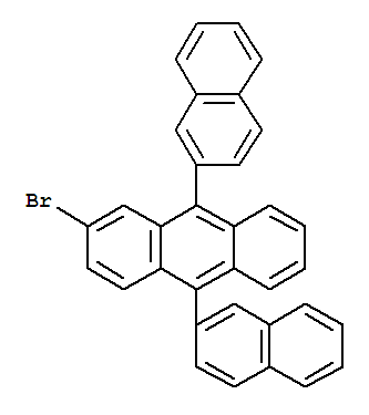 Molecular Structure of 474688-76-1 (Anthracene,2-bromo-9,10-di-2-naphthalenyl-)