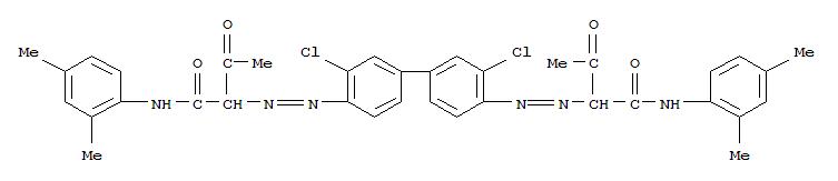 CAS NO:5102-83-0 Butanamide,2,2'-[(3,3'-dichloro[1,1'-biphenyl]-4,4'-diyl)bis(2,1-diazenediyl)]bis[N-(2,4-dimethylphenyl)-3-oxo- Molecular Structure