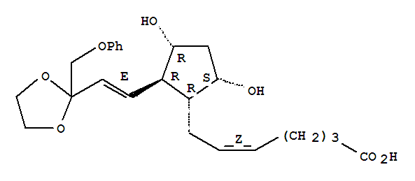 Molecular Structure of 59619-81-7 (5-Heptenoic acid,7-[(1R,2R,3R,5S)-3,5-dihydroxy-2-[(1E)-2-[2-(phenoxymethyl)-1,3-dioxolan-2-yl]ethenyl]cyclopentyl]-,(5Z)-)