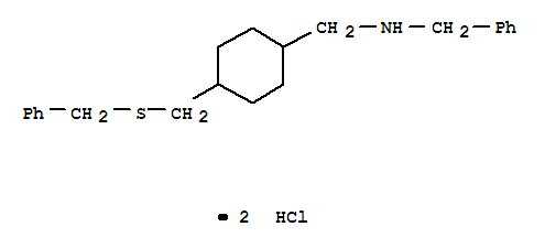 63991-02-6,Benzenemethanamine,N-[[4-[[(phenylmethyl)thio]methyl]cyclohexyl]methyl]-, hydrochloride (1:2),Benzenemethanamine,N-[[4-[[(phenylmethyl)thio]methyl]cyclohexyl]methyl]-, dihydrochloride (9CI);Cyclohexanemethylamine, N-benzyl-4-[(benzylthio)methyl]-, dihydrochloride (7CI)