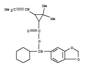 6413-06-5,Cyclopropanecarboxylicacid, 2,2-dimethyl-3-(2-methyl-1-propen-1-yl)-,1,3-benzodioxol-5-ylcyclohexylmethyl ester,Chrysanthemummonocarboxylicacid, a-cyclohexylpiperonyl ester (6CI);Cyclopropanecarboxylic acid, 2,2-dimethyl-3-(2-methylpropenyl)-, a-cyclohexylpiperonyl ester(7CI,8CI); Piperonyl alcohol, a-cyclohexyl-, 2,2-dimethyl-3-(2-methylpropenyl)cyclopropanecarboxylate;NSC 405155