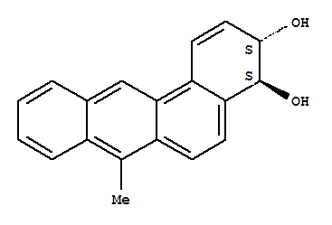 Molecular Structure of 64521-14-8 (Benz[a]anthracene-3,4-diol,3,4-dihydro-7-methyl-, (3R,4R)-rel-)