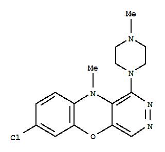 64610-67-9,10H-Pyridazino[4,5-b][1,4]benzoxazine,7-chloro-10-methyl-1-(4-methyl-1-piperazinyl)-,1-(4-Methyl-1-piperazinyl)-7-chloro-10-methyl-2,3-diazaphenoxazine