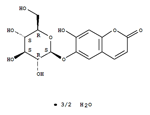 Molecular Structure of 66778-17-4 (2H-1-Benzopyran-2-one,6-(b-D-glucopyranosyloxy)-7-hydroxy-,hydrate (2:3))