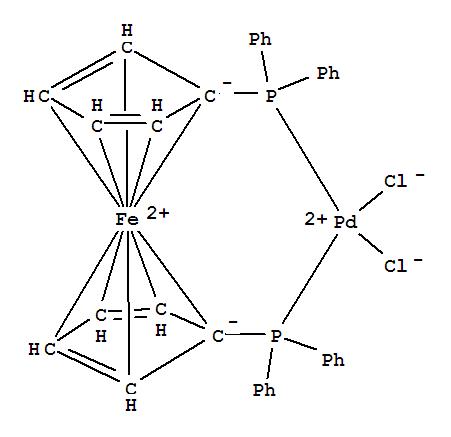 Molecular Structure of 72287-26-4 ([1,1'-Bis(diphenylphosphino)ferrocene]dichloropalladium(II))