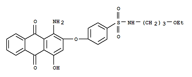 Disperse Red 92;4-[(1-Amino-9,10-dihydro-4-hydroxy-9,10-dioxo-2-anthracenyl)oxy]-N-(3-ethoxypropyl)-benzenesulfonamide