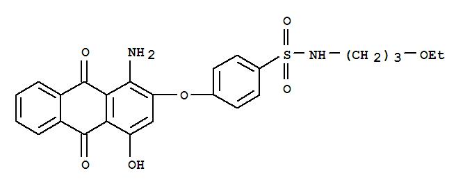 Molecular Structure of 72363-26-9 (Benzenesulfonamide,4-[(1-amino-9,10-dihydro-4-hydroxy-9,10-dioxo-2-anthracenyl)oxy]-N-(3-ethoxypropyl)-)