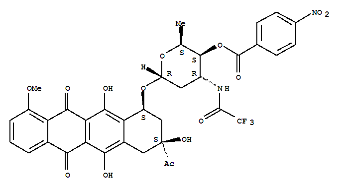 76793-42-5,5,12-Naphthacenedione,8-acetyl-7,8,9,10-tetrahydro-6,8,11-trihydroxy-1-methoxy-10-[[2,3,6-trideoxy-4-O-(4-nitrobenzoyl)-3-[(trifluoroacetyl)amino]-a-L-xylo-hexopyranosyl]oxy]-,(8S-cis)- (9CI),NSC305992